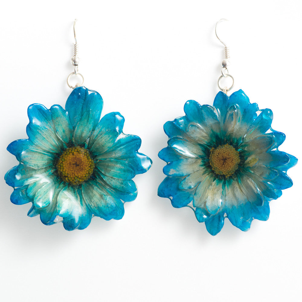Flower Earrings Blue White Chrysanthemum Earrings
