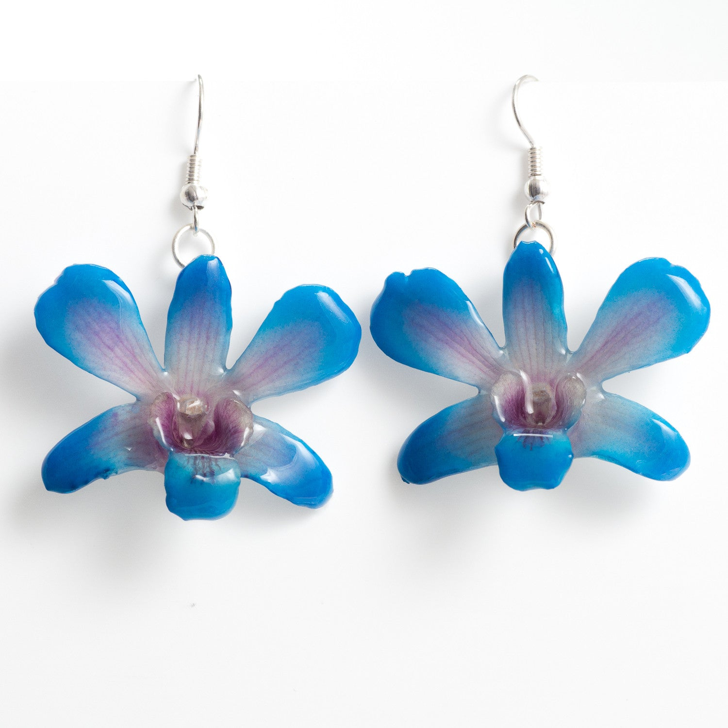 Flower Earrings Pink-Lady orchid earrings, blue color