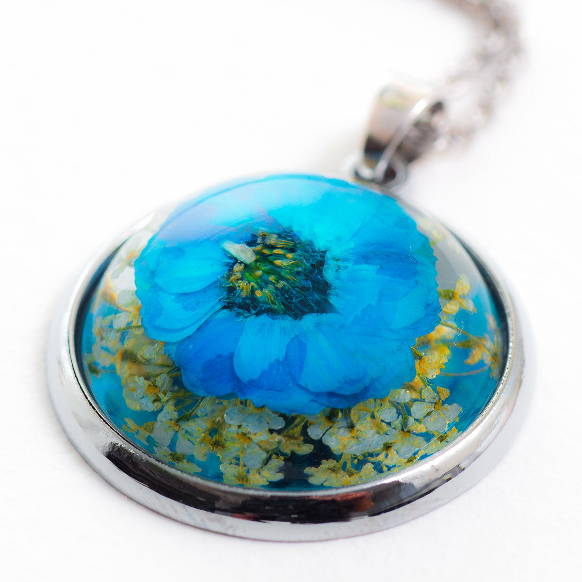 Flower Necklace Orb Blue