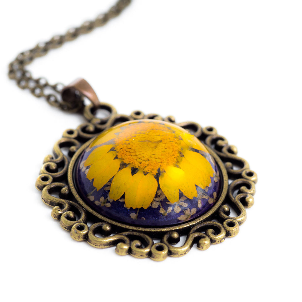 Flower Necklace Classic Orb Yellow