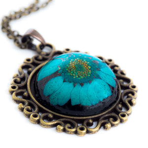 Flower Necklace Classic Orb Blue
