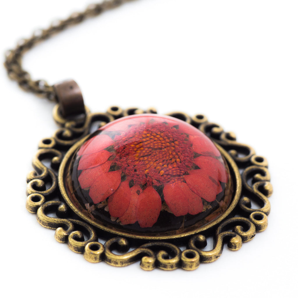 Flower Necklace Classic Orb Red