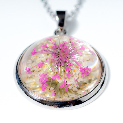 Orb Necklace pink-white