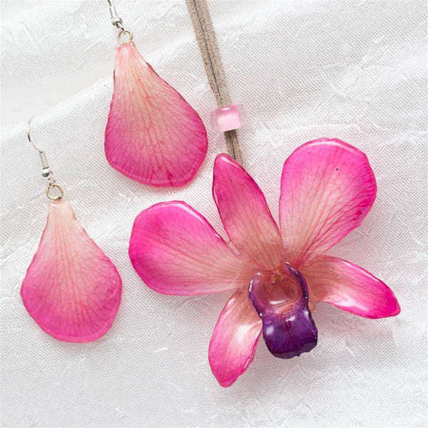 Pink-White Dendrobium Orchid Flower and Earrings matching set.
