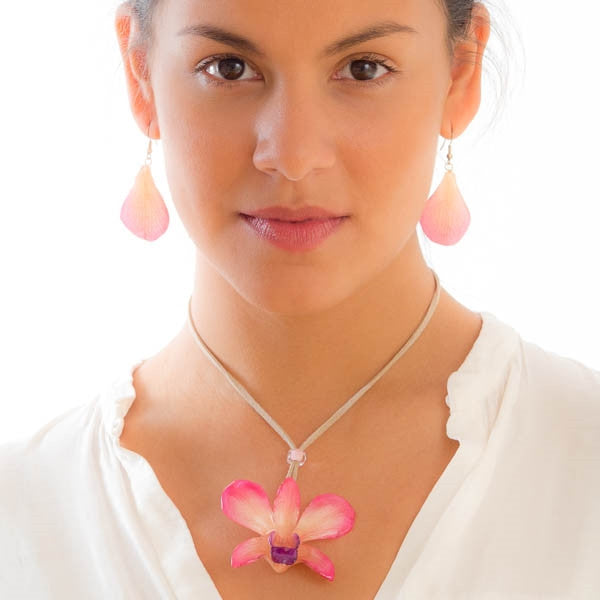 Pink - White Dendrobium Orchid Flower and Earrings matching set.