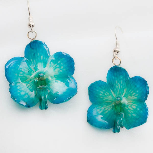 Blue Vanda Orchid Necklace and Vascostylis Earrings set