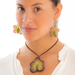 Purple Green Vanda Orchid Necklace and Earrings set