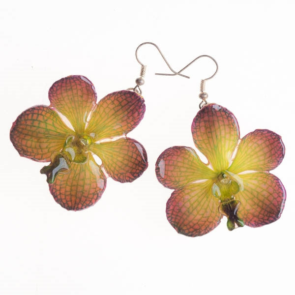 Purple Green Vanda Earrings