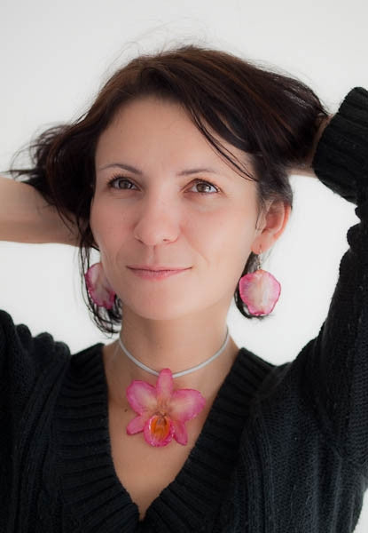 Flower Earrings pink Nobile Orchid necklace and earrings set
