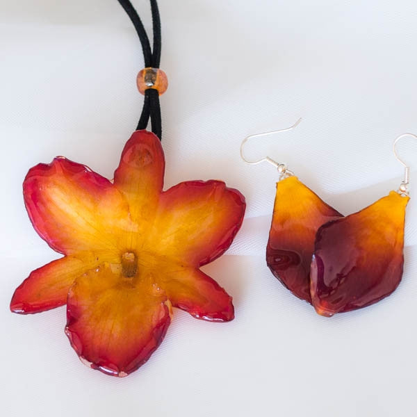 purple-yellow Nobile Orchid necklace and earrings set