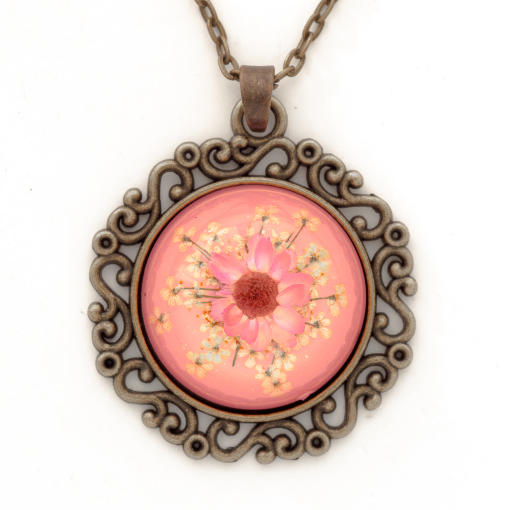 Flower Necklace Classic Orb Pink