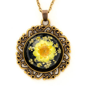 Flower Necklace Classic Orb Black-Yellow