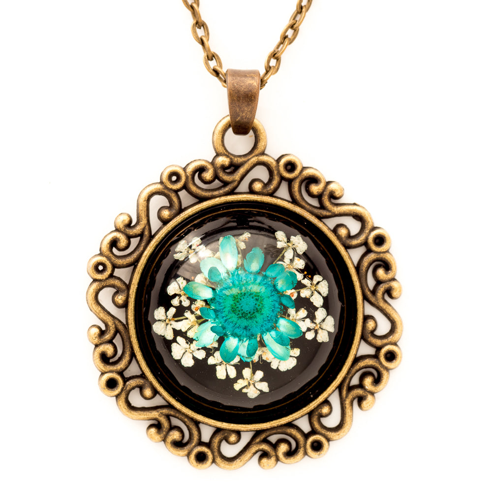 Flower Necklace Classic Orb Black-Blue