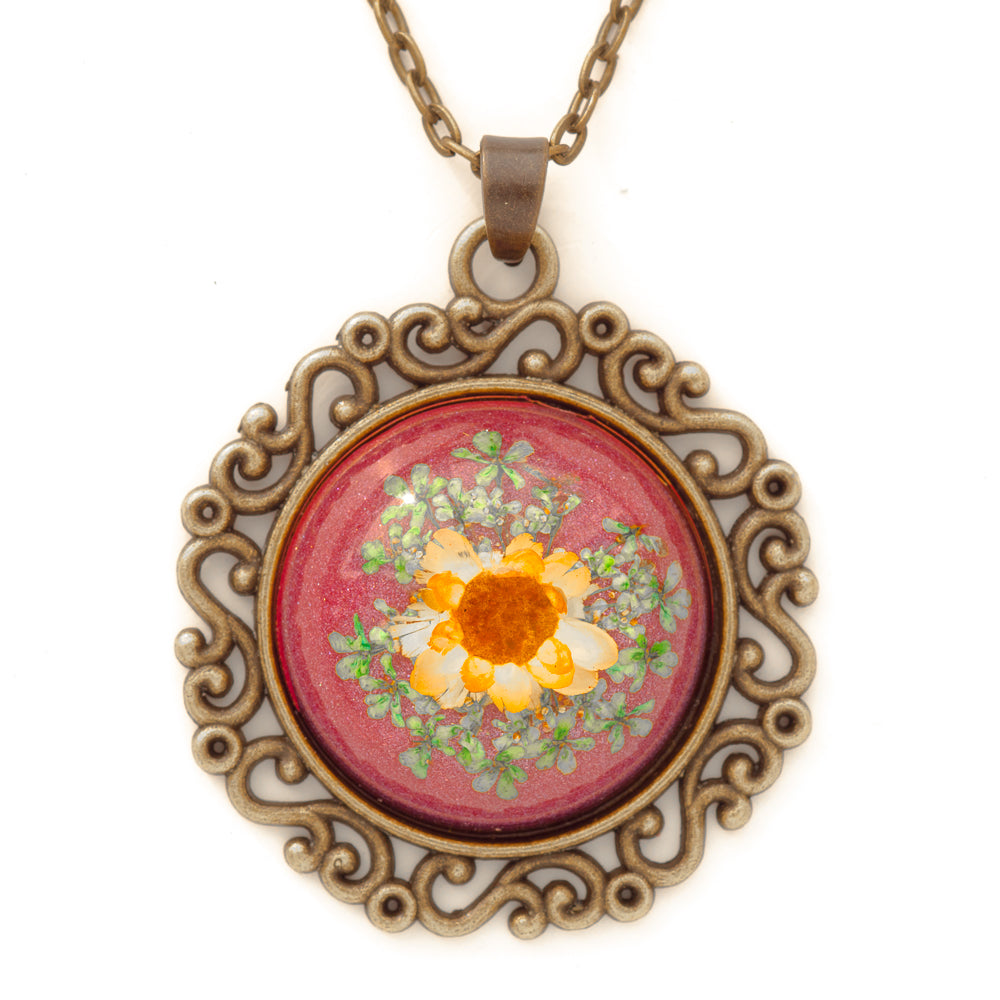 Flower Necklace Classic Orb Pink-Orange
