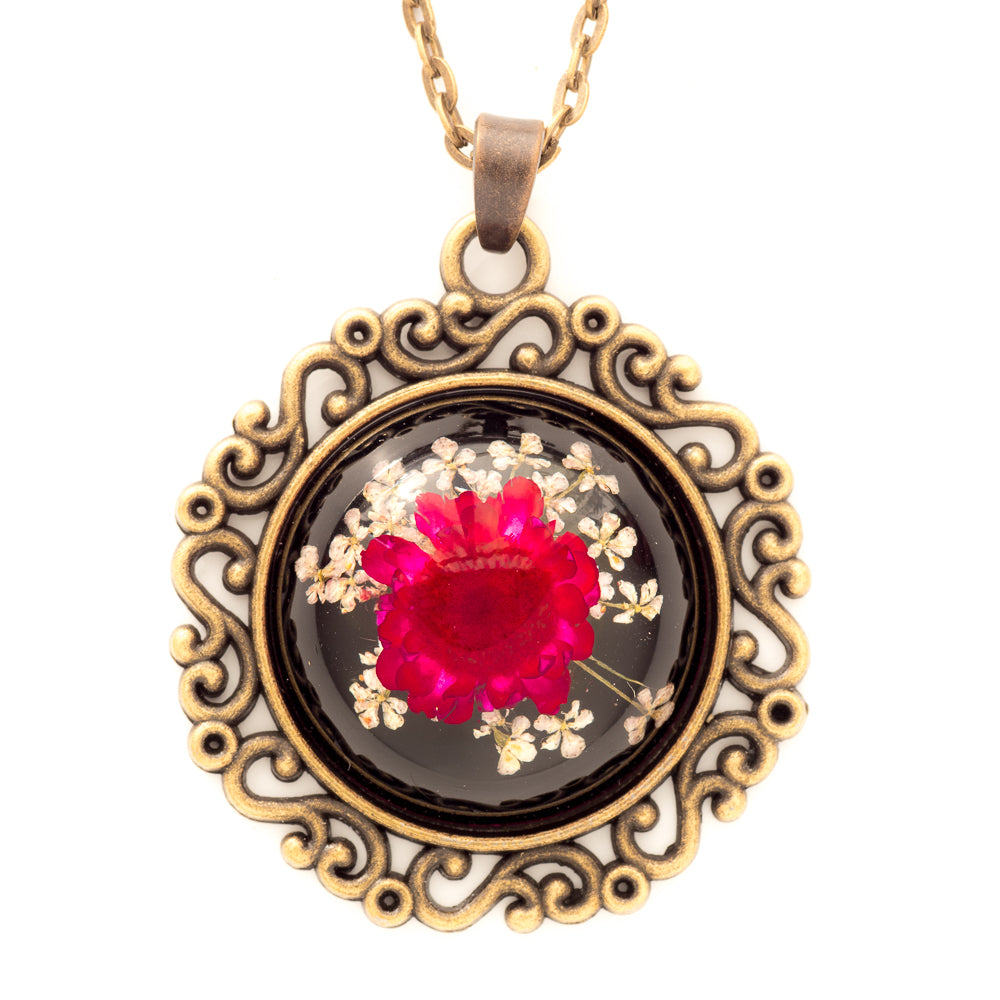 Flower Necklace Classic Orb Black-Red
