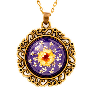 Flower Necklace Classic Orb Purple-Orange