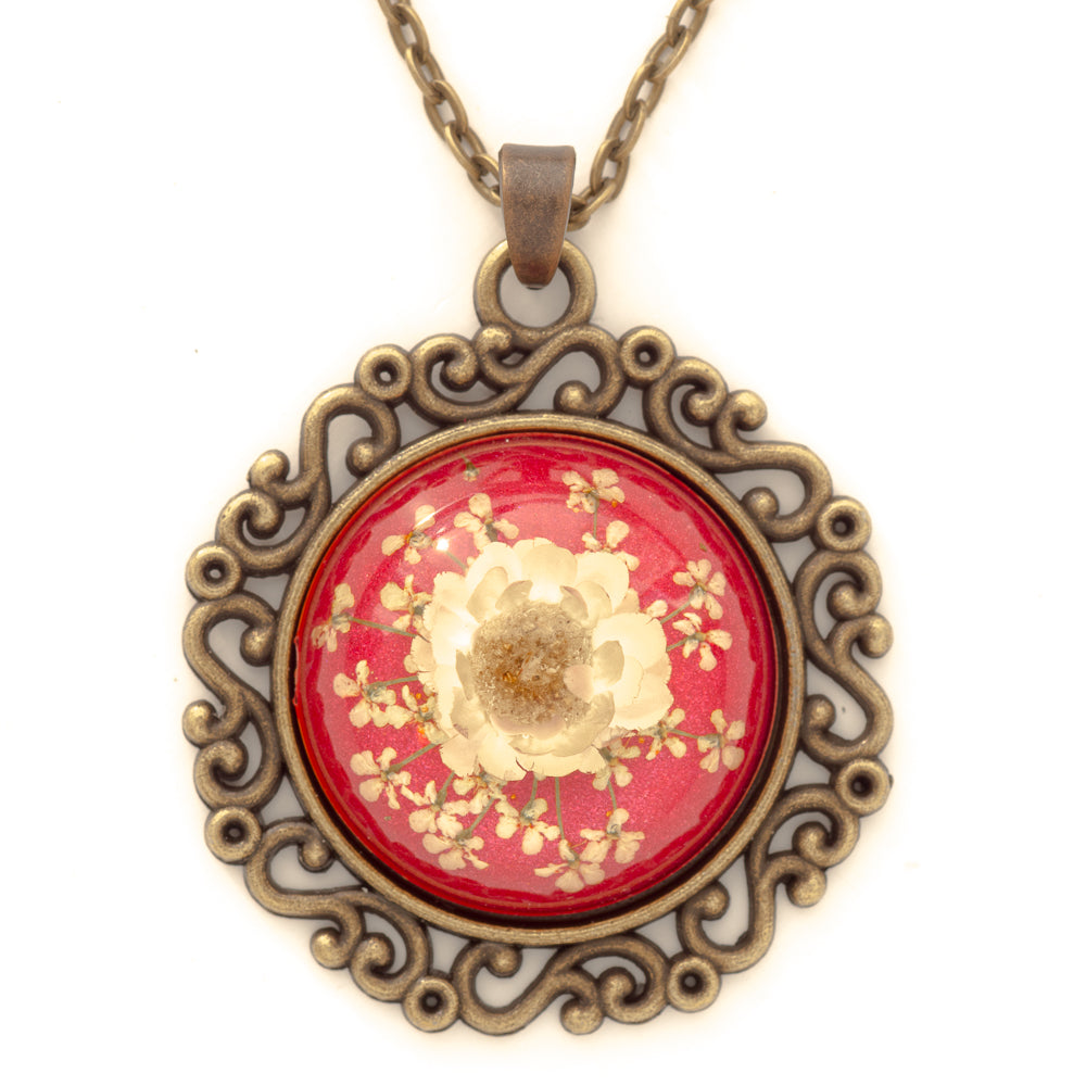 Flower Necklace Classic Orb Red-White