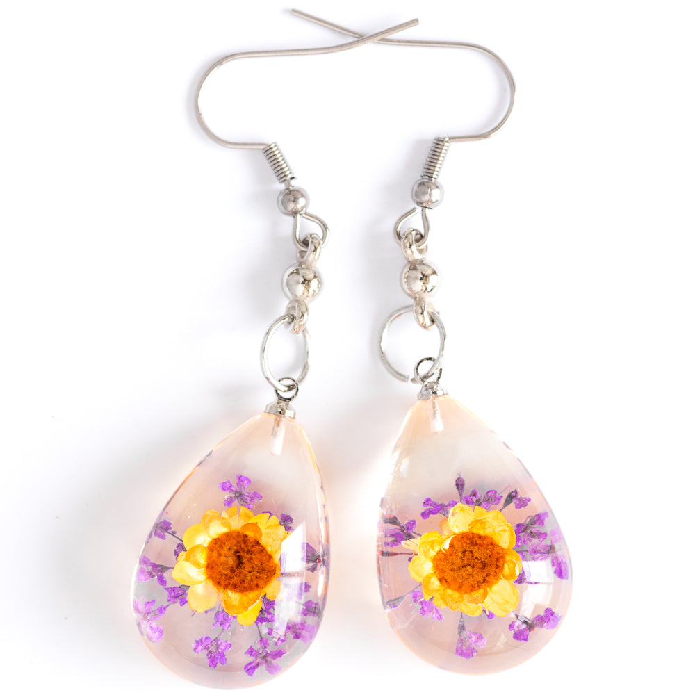 Flower Earrings Orange-Purple Orb Bea Earrings