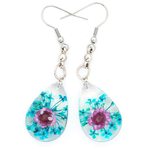 Flower Earrings Purple-Blue Orb Bea Earrings