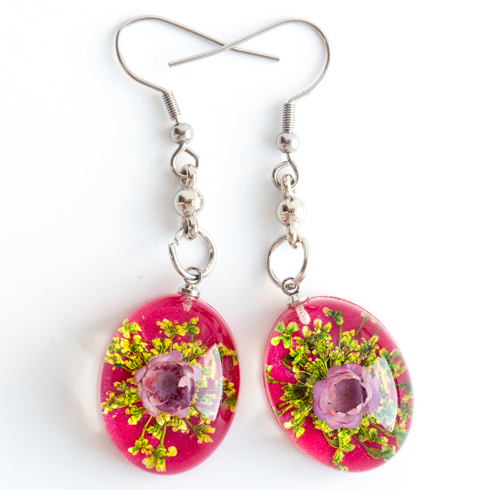 Flower Earrings Purple Red Orb Bea Earrings
