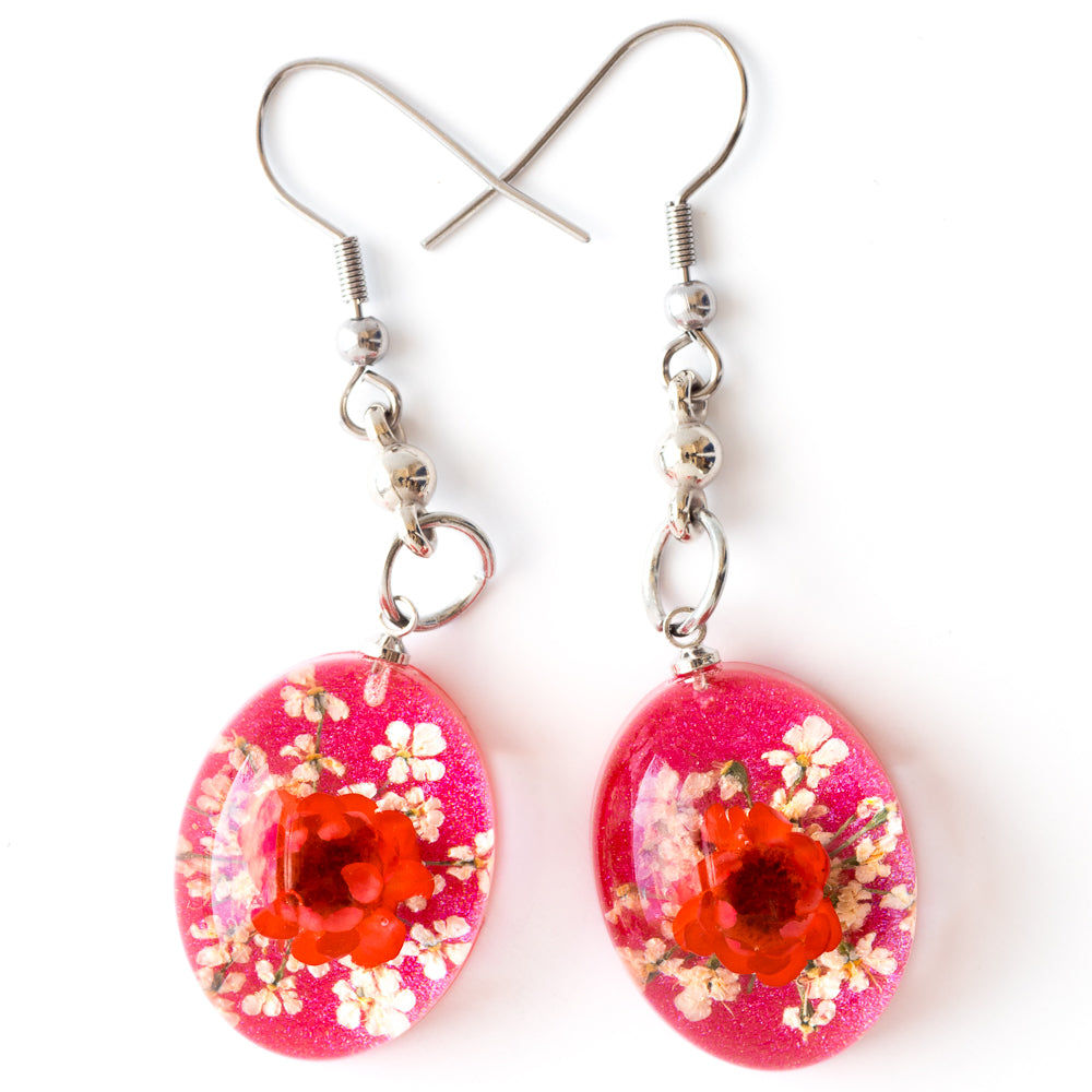 Flower Earrings Pink-White Orb Bea Earrings