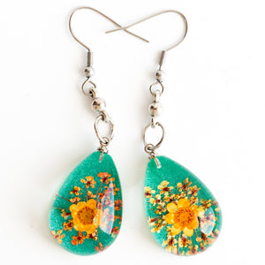 Flower Earrings Orange-Green Orb Bea Earrings