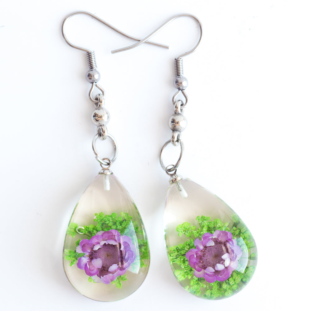 Flower Earrings Purple Green Orb Bea Earrings