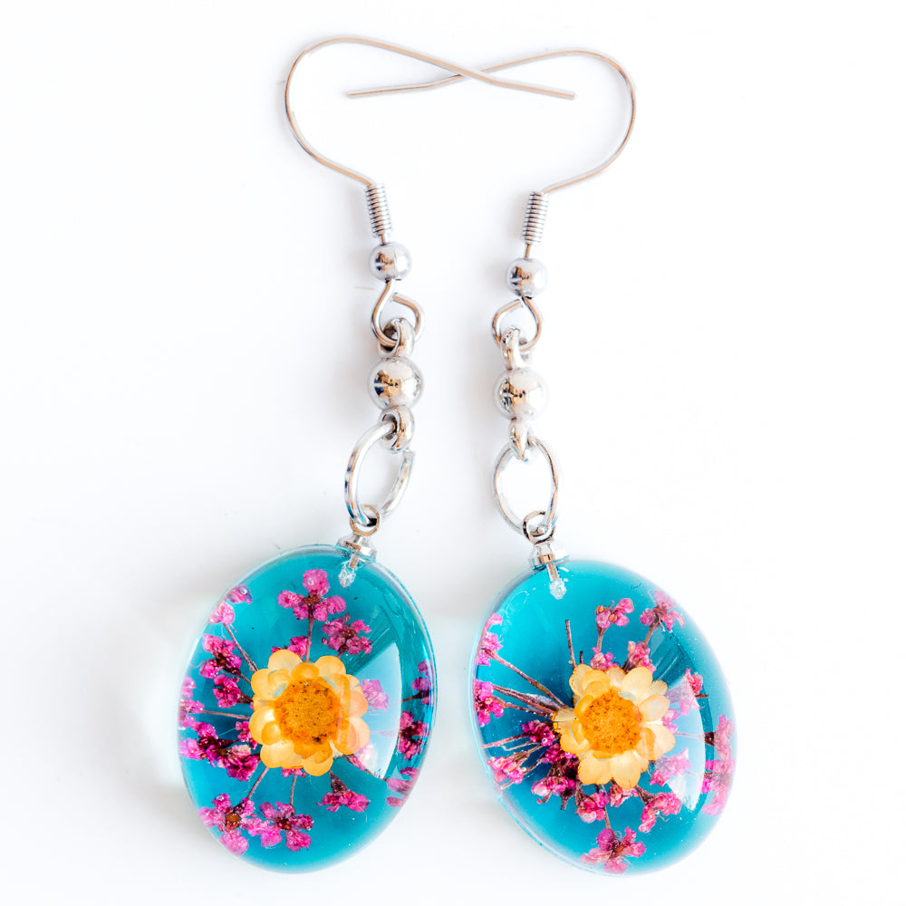 Flower Earrings Orange-Pink-Blue Orb Bea Earrings