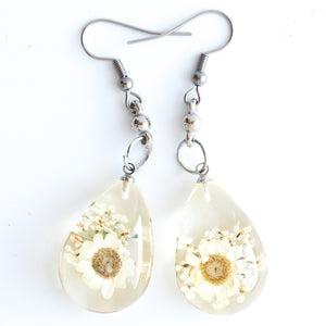 Flower Earrings White Orb Bea Earrings
