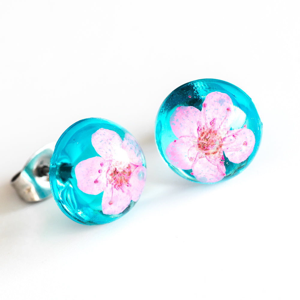 Earrings Blue-Pink Orb Stud Earrings