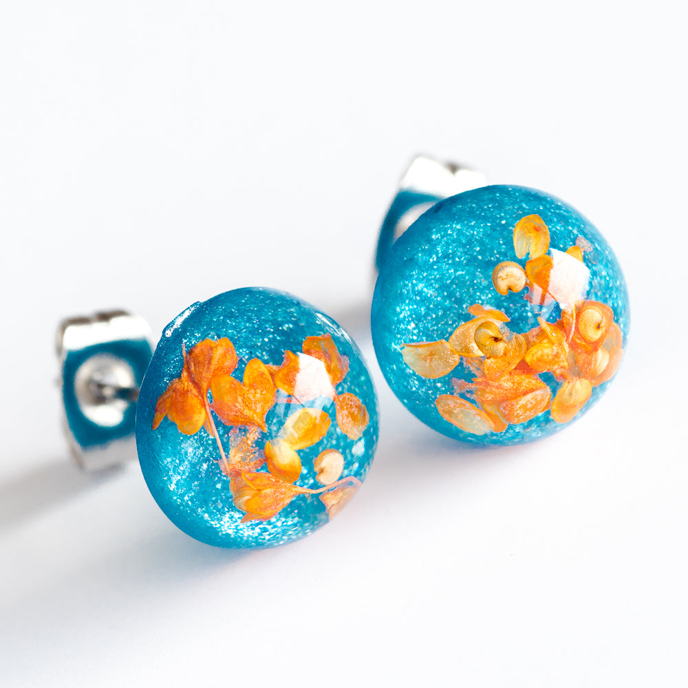 Flower Earrings Orange-Blue Orb Stud Earrings