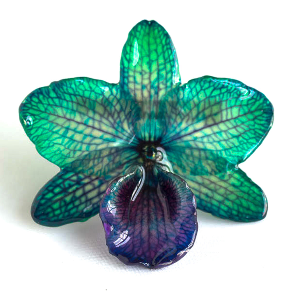Green Purple Nobile Orchid pin.