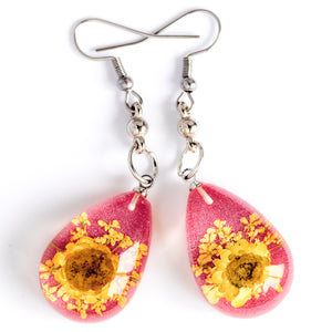 Yellow-Pink Orb Bea Earrings
