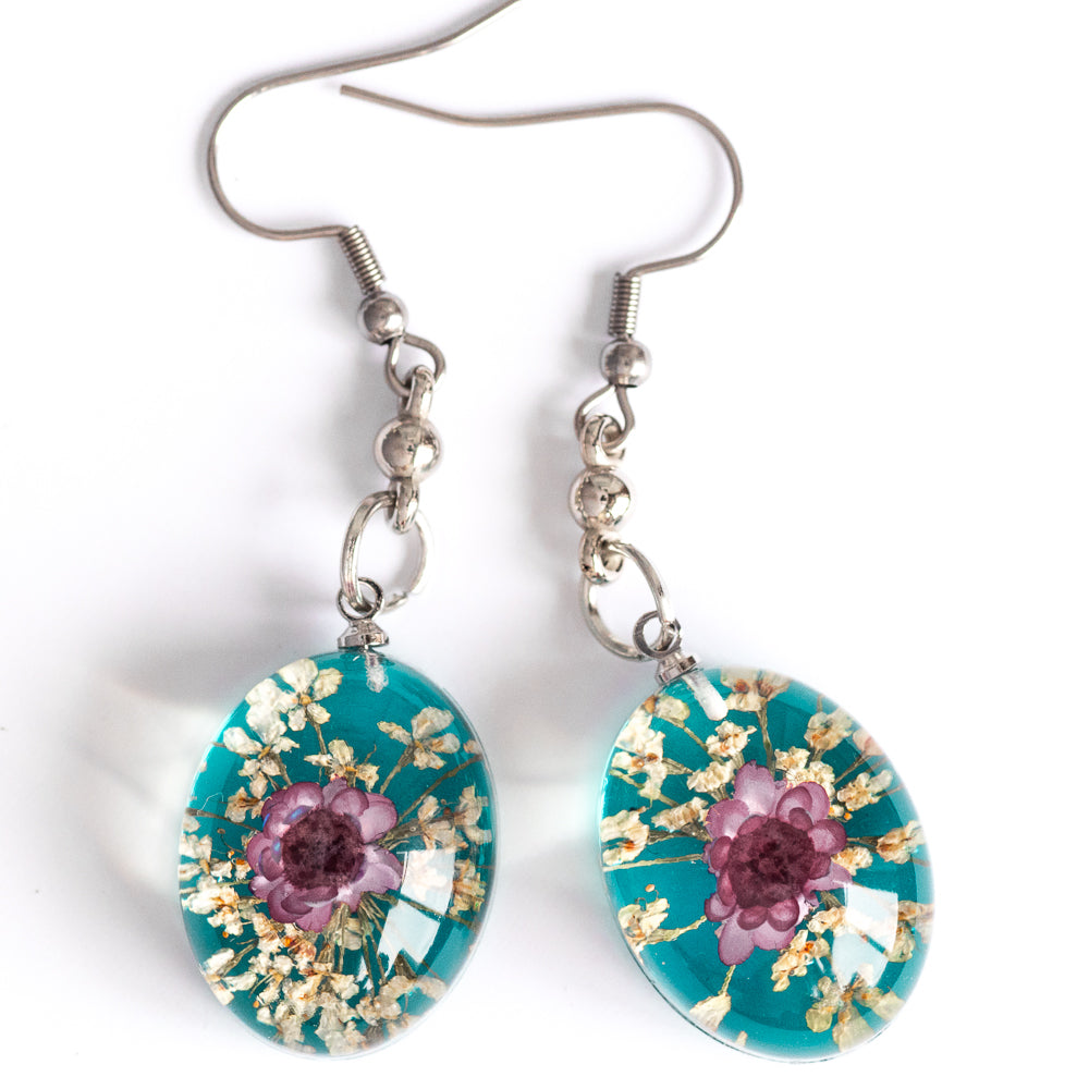 Red-Blue Orb Bea Earrings