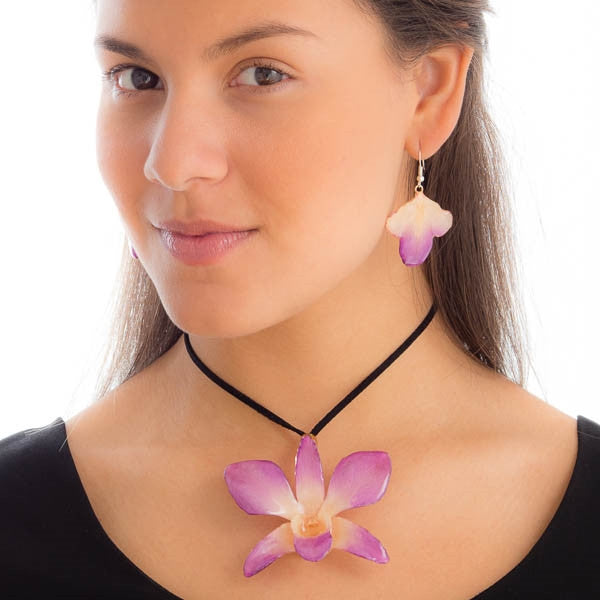 purple-white dendrobium orchid flower necklace and earrings set