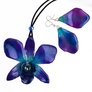 purple-blue dendrobium orchid flower necklace and earrings set