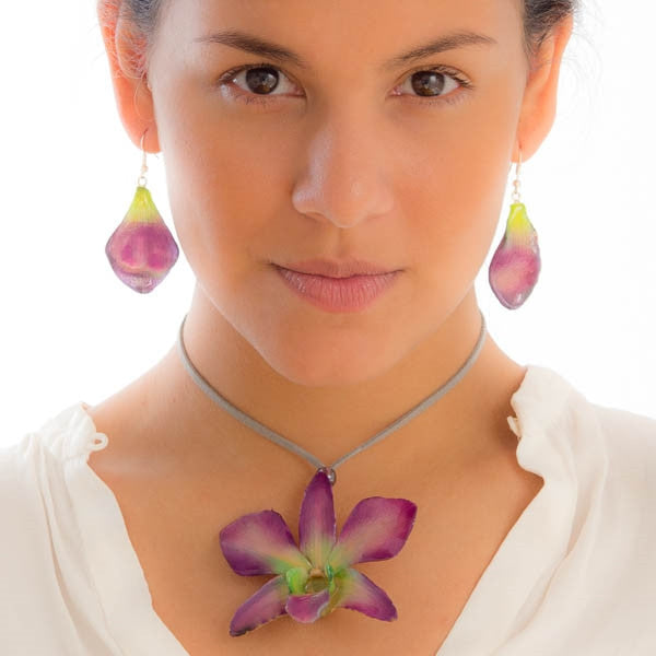purple-green dendrobium orchid flower necklace and earrings set.