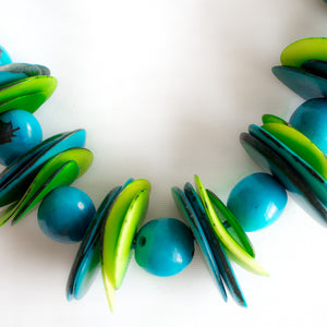 Blue Green Tagua Necklace