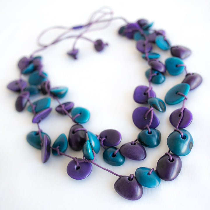 Blue Purple Tagua Necklace