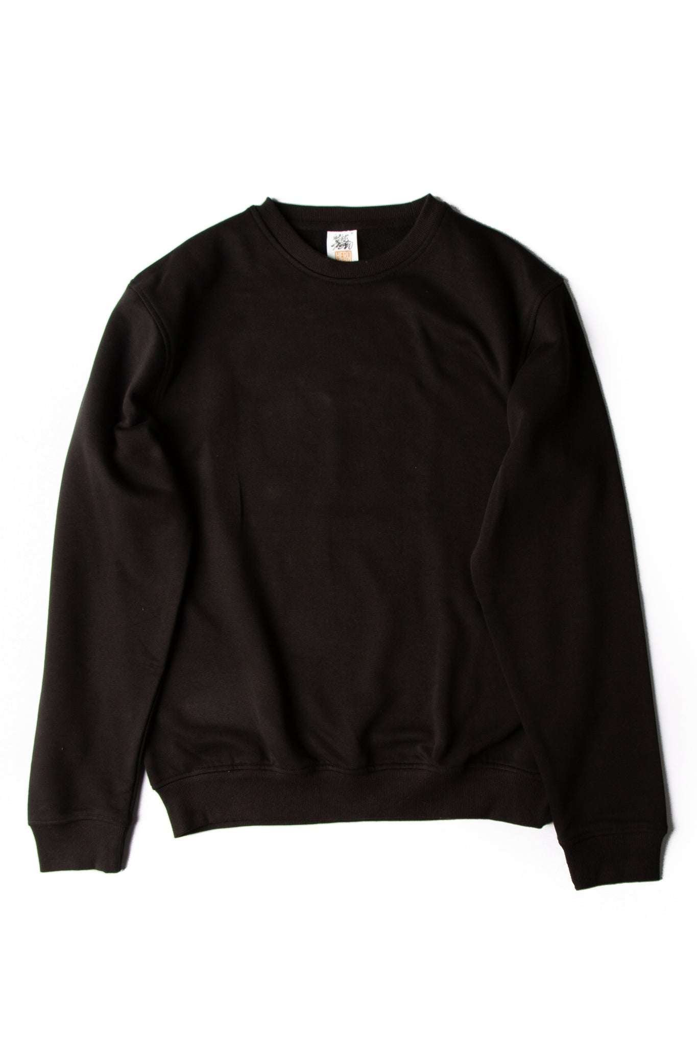 HERO-1020 Unisex Blank Crewneck Sweatshirt - Black