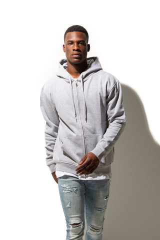 HERO-3020 Unisex Full Zip Hoodie - Sport Grey