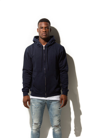 HERO-3020 Unisex Full Zip Hoodie - Navy Blue