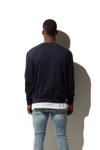 HERO-1020 Unisex Blank Crewneck Sweatshirt - Navy Blue