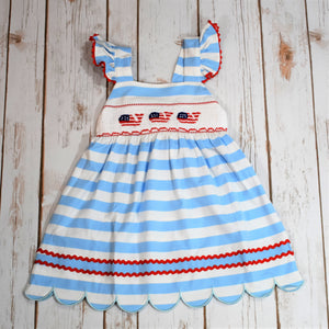 Knit Smocked Whale Patriotic Dress Scallop Hem Bow Back