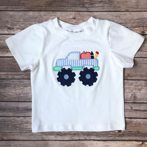 BACK TO SCHOOL MONSTER TRUCK APPLIQUE T-SHIRT