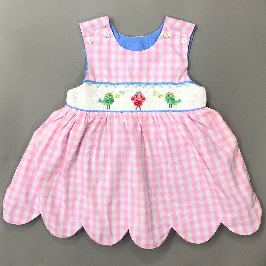 Reversible Scallop Hem Dress Smocked Gingham Corduroy Elephants Birds