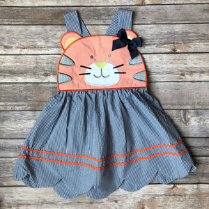 blue and orange tiger dress with scallop hem, ric rac and bow