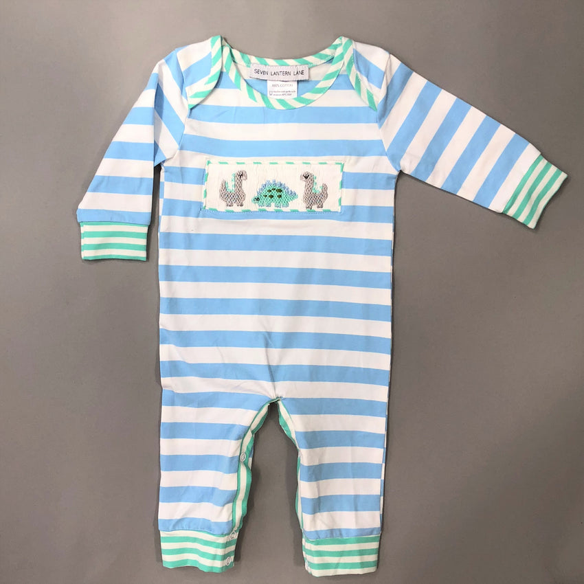 Blue Smocked Dinosaur Boys Romper