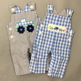 Reversible Smocked Monster Truck Construction Overall