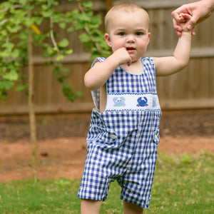 Boys Gingham Smocked Crab Jon Jon